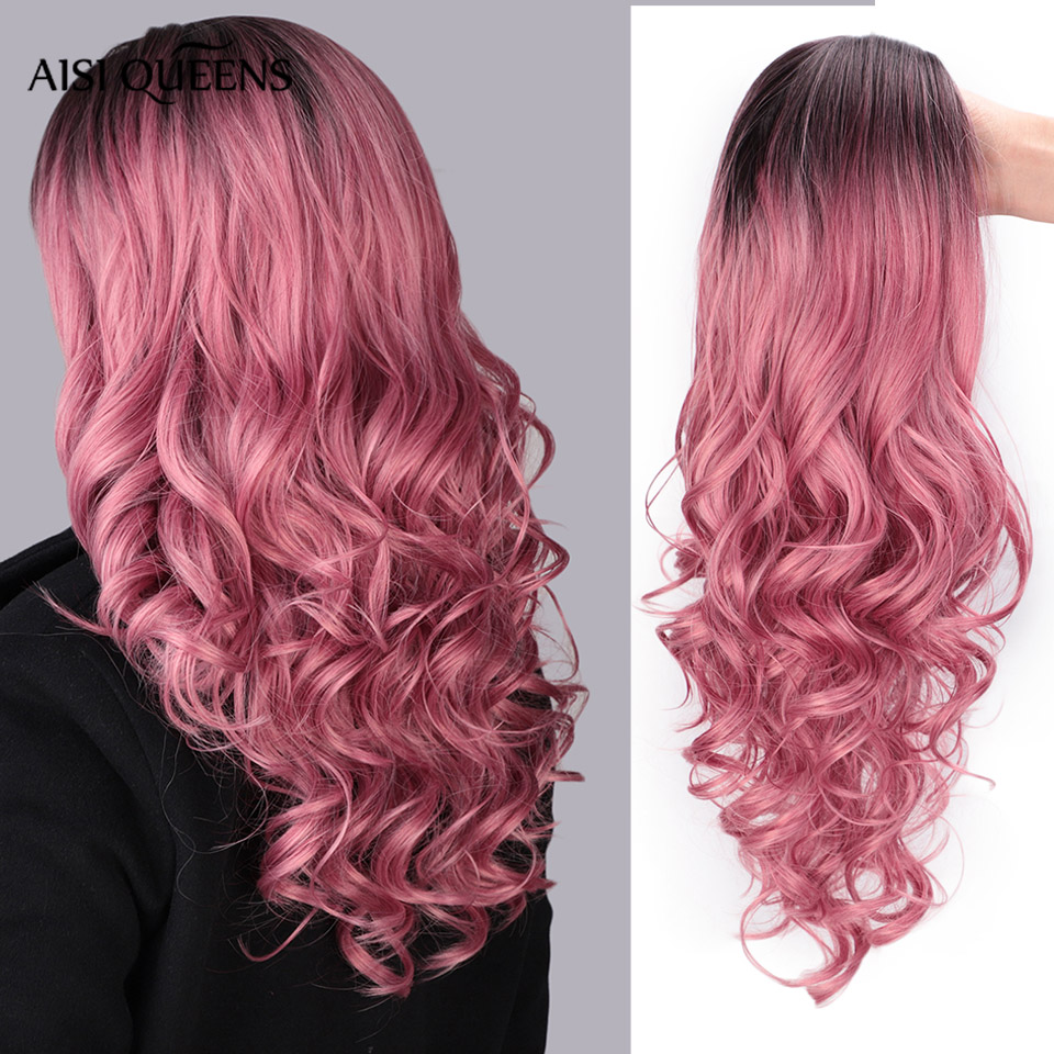 AISI QUEENS Long Ombre Pink Wig Synthetic Cosplay Wavy Blonde Wigs For Women Black Gray Brown Black Red Wigs For Sale