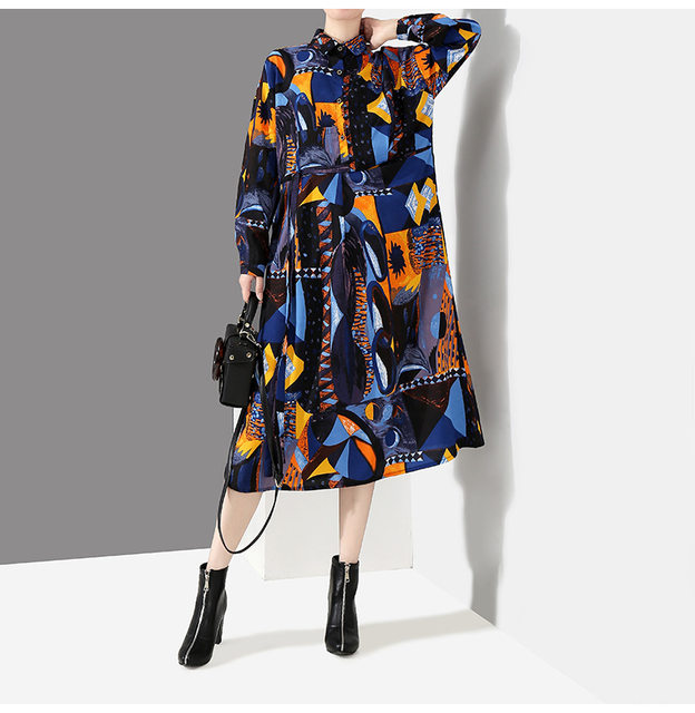 [EAM] 2019 New Autumn Winter Lapel Long Sleeve Blue Pattern Prited Loose Large Size Pocket Dress Women Fashion Tide JI485 26