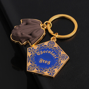 Chocolate Frog Keychain Gold color Metal Pendant Hogwarts School Keyring Wizard Magic World Hig Quality Gifts Jewelry(China)