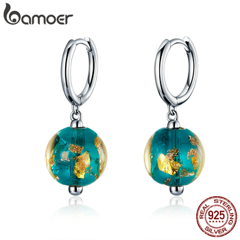 bamoer Genuine 925 Sterling Silver Fancy Glass Beads Drop Earrings for Women Exotic Dangle Earing Fashion Jewelry SCE817 - discount item  46% OFF Fine Jewelry