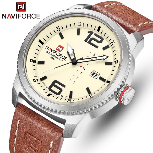 2020 NEW Luxury Brand NAVIFORCE Men Sport Watches Mens Quartz Clock Man Army Military Leather Wrist Watch  Relogio Masculino