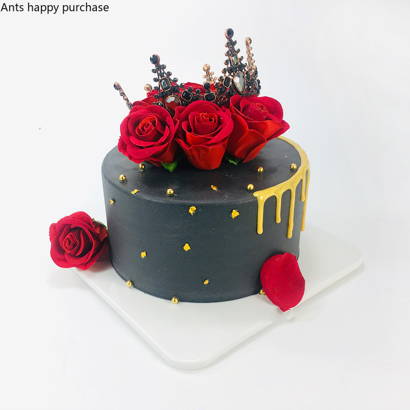 Cool Cake Model Simulation Black Crown Red Rose Birthday Cake Model Funny Birthday Cards Online Inifodamsfinfo