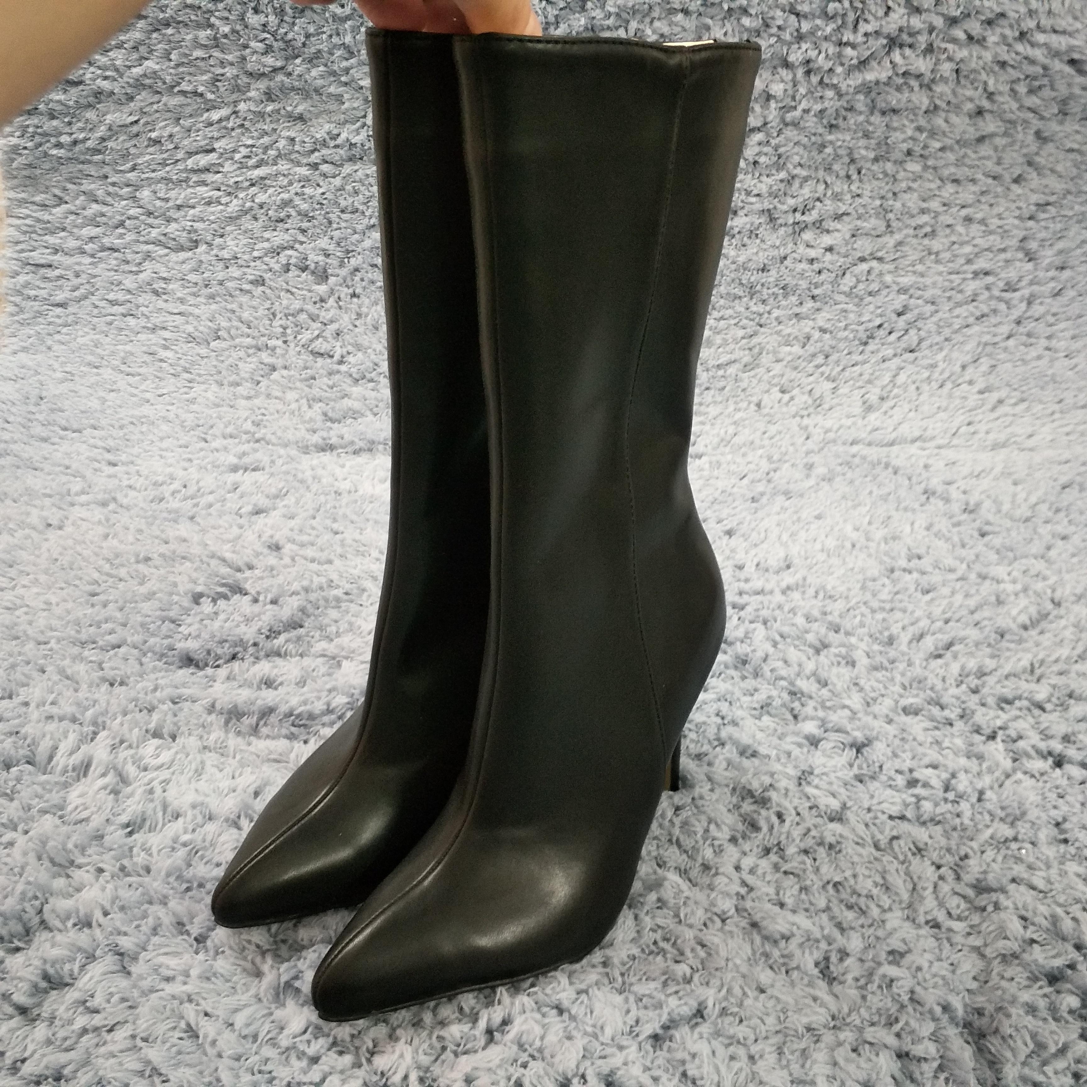 Black PU Women Stiletto Thin High Heel