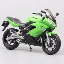 1/10 escala welly kawasaki ninja 650r ER 6f eх 6 modelo de motocicleta veículos diecast esporte touring corrida bicicleta brinquedos miniaturas crianças
