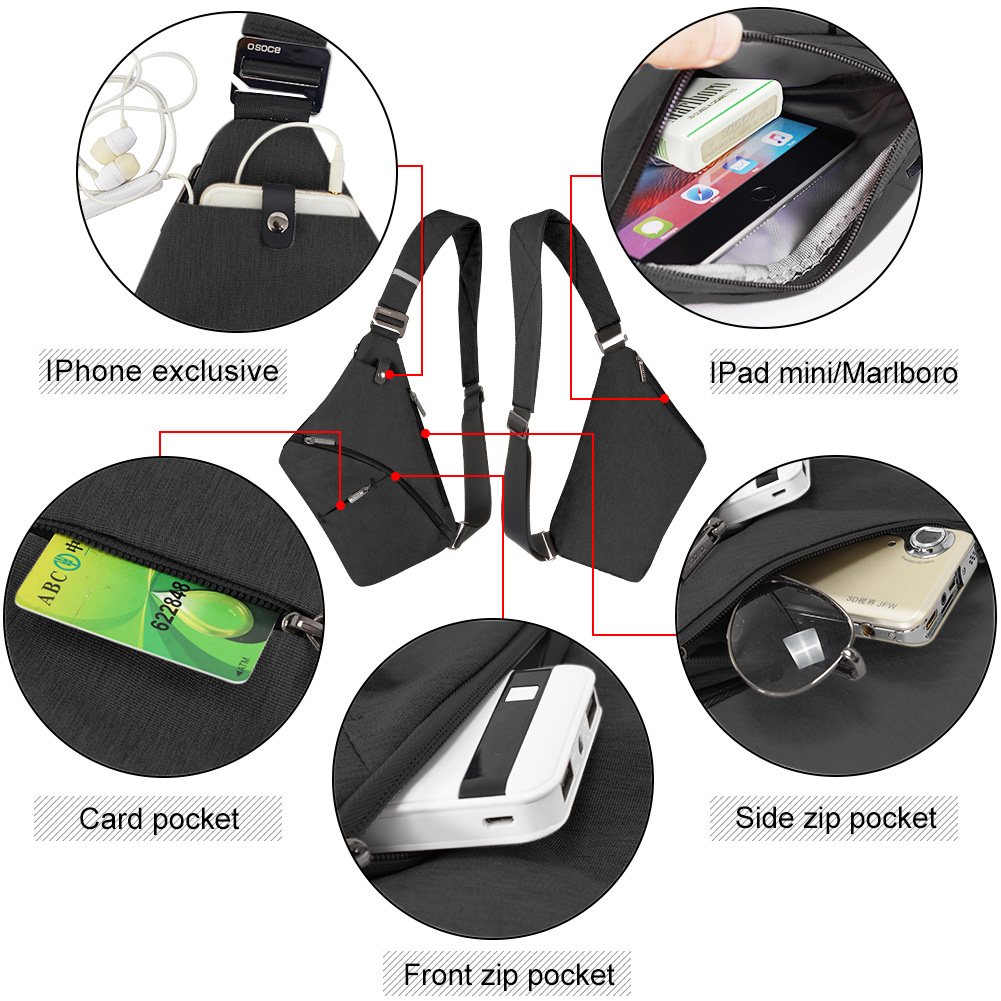 Anti-Theft Crossbody Bag Shoulder Bag Sling Chest bag Waterproof Cover Pack Rucksack Bicycle Sport 6