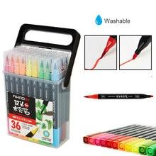 Canetas marcadores coloridas 12/18/24/36 unidades, canetas de aquarela, pincel de ponta dupla, desenho, pintura canetas de marcador de esboço, materiais de arte