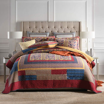 CHAUSUB Cotton Bedspread Quilt Set 3-piece Vintage Patchwork Quilted Quilts Bed Cover Pillow Case Queen Size Coverlet Blanket marine style bedspread quilt set 3pcs coverlet quilted bedding cotton quilts aircondition bed cover pillowcase king size blanket