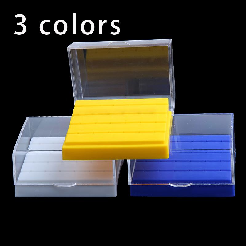 24 Holes Plastic Dental Bur Holder Disinfection Carbide Burs Block Drills Case Box Dentist  Lab Equipment Without Dental Burs