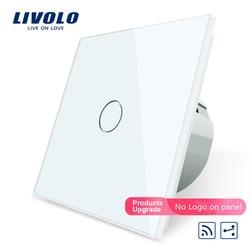 Livolo EU Standard Wireless Switch VL-C701SR-11,1Gang 2 Way, Remote Switch, White Crystal Glass Panel, 220~250V + LED Indicator