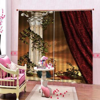 Custom curtains Decoration curtains European Roman pillars Curtains Photo Painted 3D Curtain Living room