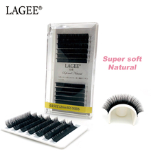 LAGEE 12Rows J B C CC Curl Faux Mink Individual Eyelash Extension Handmade False Fake Soft Natural Lash for Salon Makeup