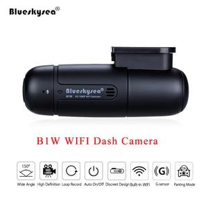 Image 1 - Blueskysea B1W داش كاميرا السيارة مزودة بجهاز تسجيل فيديو كامل HD 1080P واي فاي صغير داش كام 360 درجة تدوير وضع وقوف السيارات IMX323 لوحة سيارة مسجل