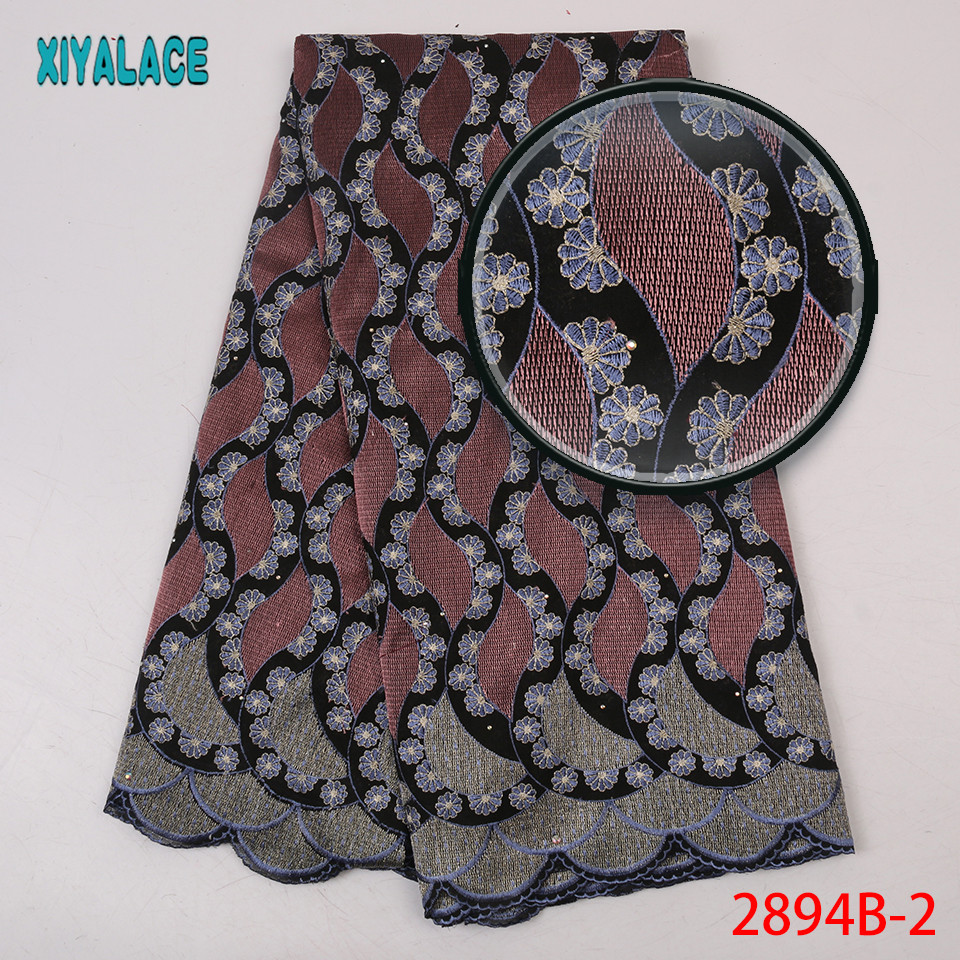 Latest Nigerian Lace Fabric 2019 High Quality African Wedding Fabric Swiss Voile Lace With Stones KS2894B-2