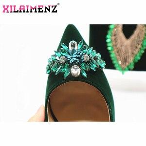 Image 5 - Classics Stijl Schoenen en Tas Sets Groene Kleur Italiaanse Schoenen met Bijpassende Tassen Hoge Kwaliteit Vrouwen Schoenen en Tas Te wedstrijd