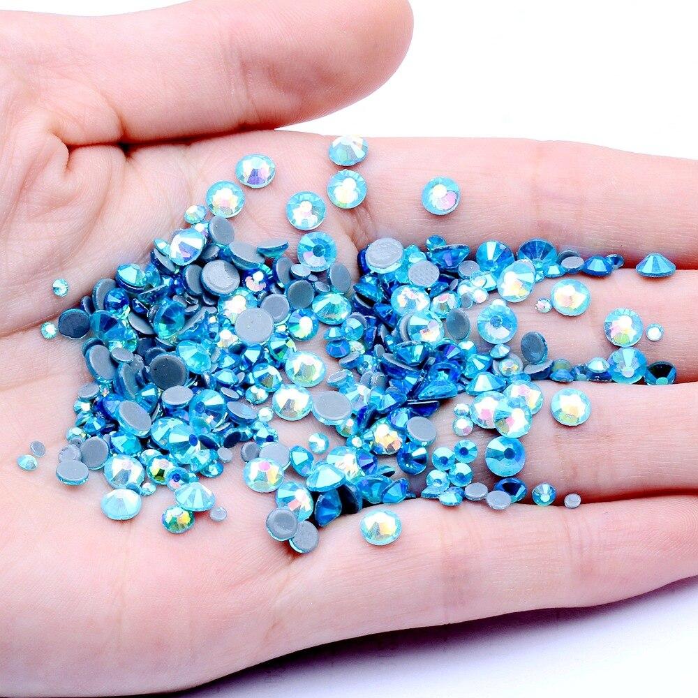 Ss6, ss10,ss16,ss20,ss30 Аквамарин AB кристаллы стеклянные стразы горячей фиксации s,DMC плоские стразы для одежды