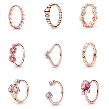 Authentic 925 Sterling Silver Ring Charm Rose Gold Color Red Flower Diy Crystal Round Shape Finger Ring For Women Party Jewelry retro style engraving rose shape women s finger ring