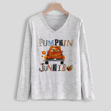 Halloween Clothes Pumpkin Junkie Letter Printed V-neck Long-sleeved Sleeve T-shirt Female 2019 Autumn Funny Vogue T Shirt Women