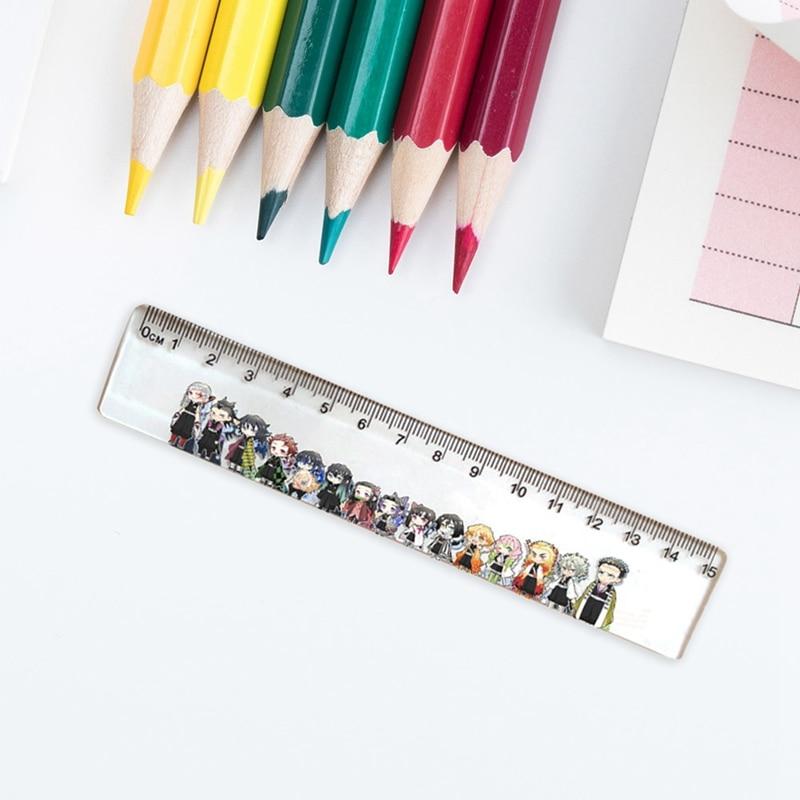 Anime Demon Slayer: Kimetsu No Yaiba Kamado Tanjirou Cosplay Acrylic Ruler Measuring Scale Students Cartoon Measure Ruler Gift
