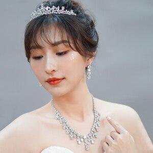Image 5 - CWWZircons Dangle Drop Dubai Zircon Necklace Earrings Bracelet and Rings Bridal Jewelry Set Women Wedding Dress Accessories T342
