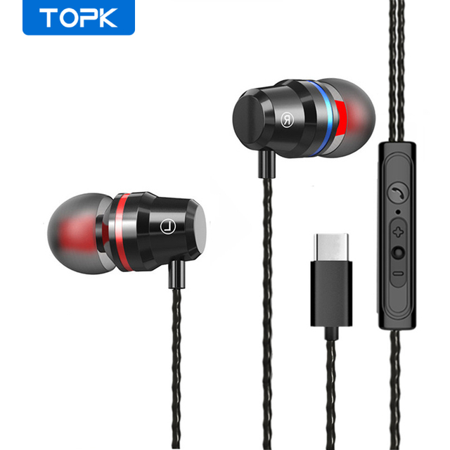 TOPK F16 سماعات مع المدمج في MicrophoneType C في الأذن السلكية سماعة آيفون شاومي سامسونج الهاتف