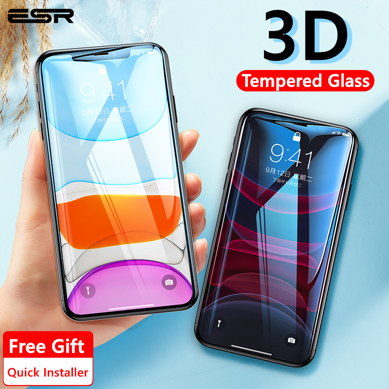 ESR Screen Protector for iPhone 11 Pro Max X XS XR XS Max Promax 3D Full Coverage Tempered Protective Glass for iPhone 2PCS(China)