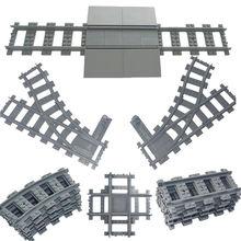 Vías flexibles de trenes de ciudad para chico, rieles curvos, interruptor, bloques de construcción de ladrillos, creador técnico de juguetes, venta al por mayor