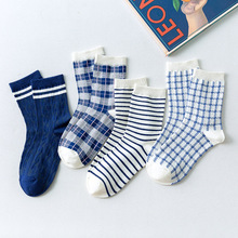 Vintage Style Blue Series Plaid Women Socks Breathable Stripe Grid Printed Cotton