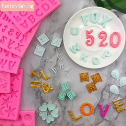 Many Lovely English Letter Number Silicone Mold Cupcake Jelly Candy Fondant Cake Decoration Baking Tool Chocolate Figure Moulds