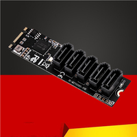 QINDIAN Add On Cards M.2/M2 Adapter SSD M2 SATA Adapter Hard Disk M2 to SATA Card NGFF M.2 SATA Adapter 5 Ports SATA3 Riser Card