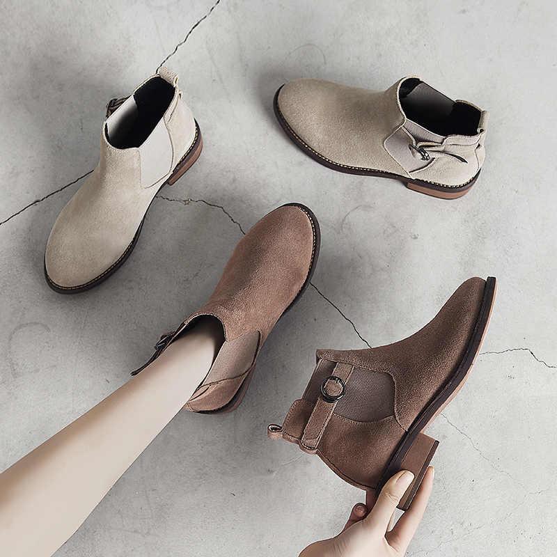 Winter Schoenen Vrouwen Enkellaars Suede Zwarte Chelsea Laarzen Slip op Dames Casual Dikke Hak Schoenen Mode Comfortabele Vrouwelijke 2019