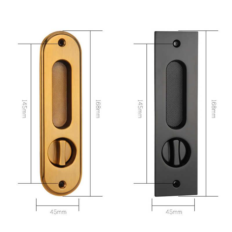 KAK เลื่อนประตูล็อคปุ่มซ่อนประตูภายในประตูดึงล็อค Anti-Theft ไม้ประตูล็อคเฟอร์นิเจอร์ฮาร์ดแวร์