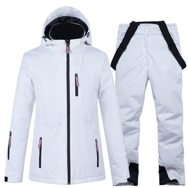 -30 Pure White Women Snow Wear Clothing Snowboard Suit Sets 10k Waterproof Windproof Winter Costume Ski Jacket + Strap Snow Pant