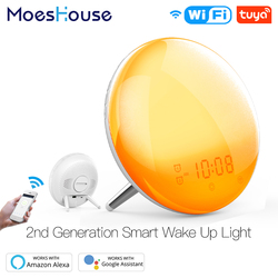 Relógio inteligente, wifi inteligente despertador de dia de trabalho com luz e 7 cores nascer do sol/pôr do sol smart life tuya app funciona com alexa google home
