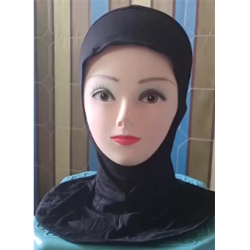 Solid Color Women's Muslim Soft Under Scarf Hat Cap Bone Bonnet Neck Cover Hijab Amira Cap Women Islamic Ninja Ramadan Prayer