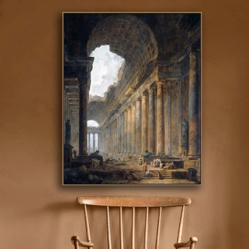 Canvas Wall Art Old Temple By Hubert Robert Painting Classic Art Reproductions  2