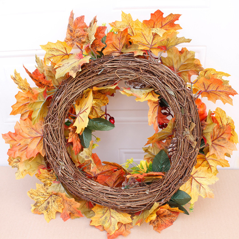 Silk Autumn Wreath Christmas Decoration Thanksgiving Rattan Material Garland Window Restaurant Home Decoration Fall Wreath Door-1