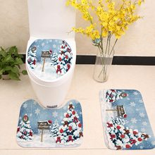 цена на No Lint Falais Bathroom Toilet Floor Mat / Toilet Seat / Toilet Set Christmas Theme Series Printed Bathroom Anti-slip Mat