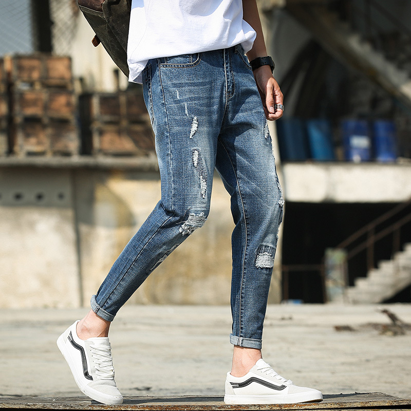 Jeans MAN'S Ninth Pants Korean-style Cotton Slim Fit Teenager With Holes Slimming Korean Wave