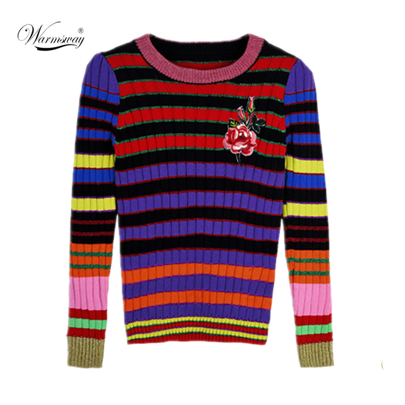 Flower Embroidery Gold Silk Color Striped High Stretch Knitted Sweater Women's Round Neck Long Sleeves Slim Pullover CY-101