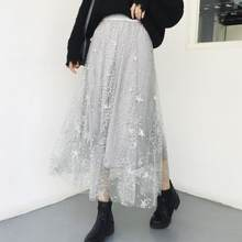 2019 Spring Summer Women Layers Embroidery Long Skirts Elastic Waist Elegant Mesh Saia A Line Faldas Female Skirt Bohemian DV684(China)