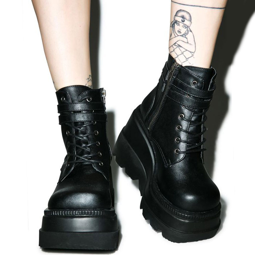 Brand Design 2020 Big sizes 43 Platform High Heels Cosplay Fashionable Autumn Winter Wedges Shoes Ankle Boots Women