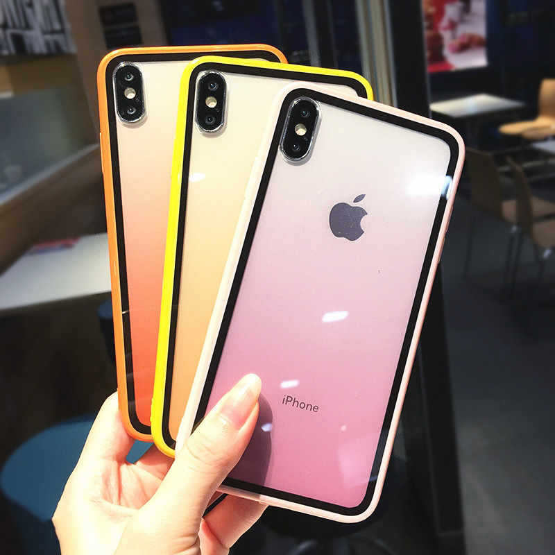 Lovebay Transparent Gradient Phone Cases for iPhone 11Pro XS Max XR X Acrylic Candy Cover for iPhone 11 7 8 6 6S Plus Back Cover