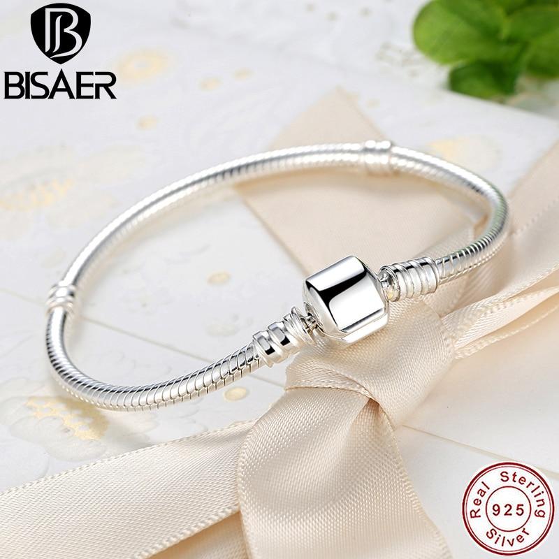 Femme BISAER Authentic 100% 925 Sterling Silver Cobra Cadeia Bead Bracelet & Bangle Para Encantos Pulseira Jóias de Luxo WEUS902