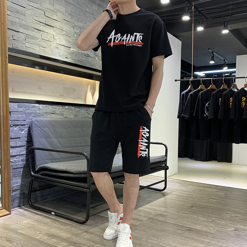 Summer Set Men's 2019 New Style Korean-style Short-sleeved Round Collar T-shirt Short Shorts Fashion Brand Casual Sports Set