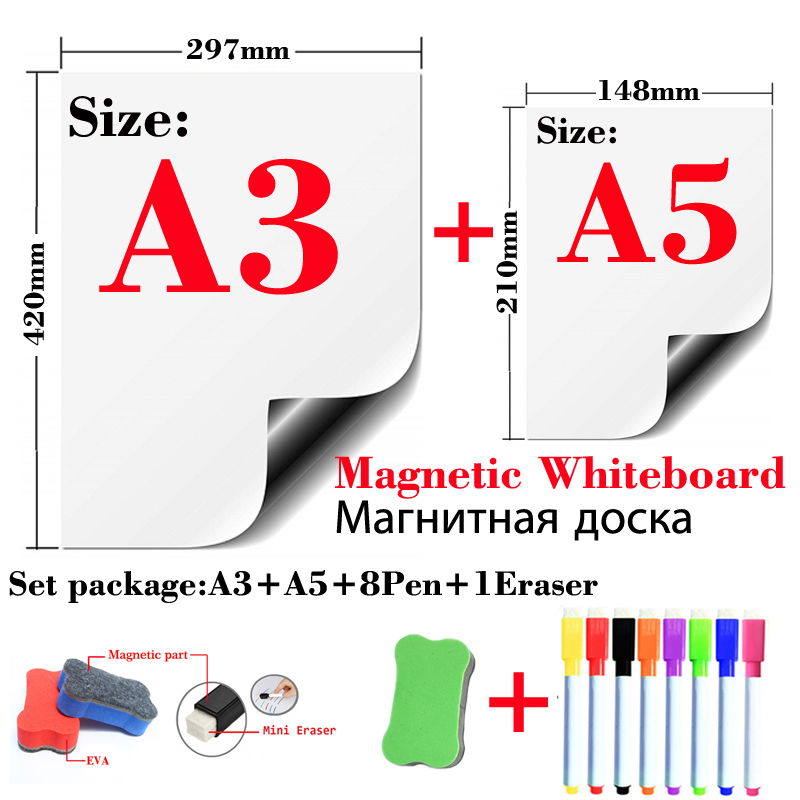 Magnetic Whiteboard Fridge Stickers Wall Stickers Kids Drawing Board Dry Erase White Board Message Board A3+A5 Set Package
