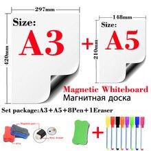 Manyetik beyaz tahta buzdolabı çıkartmalar duvar çıkartmaları çocuklar çizim kurulu kuru silme beyaz tahta mesaj panosu A3 + A5 seti paketi