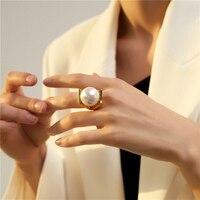 HUANZHI-Anillo de plata de primera ley con perlas Gran imitación, sortija, plata esterlina, Circonia cúbica, zirconia, circonita, zirconita, zirconita, Color dorado