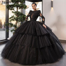Платье с длинным рукавом janevini блестящее черное платье quinceanera