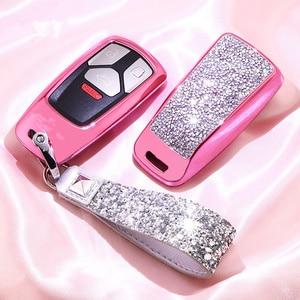 Image 1 - Diamante caso capa chave do carro para audi a4 b9 q5 q7 tt tts 8s 2016 2017 corrente chaveiro para meninas presentes femininos cristal artificial
