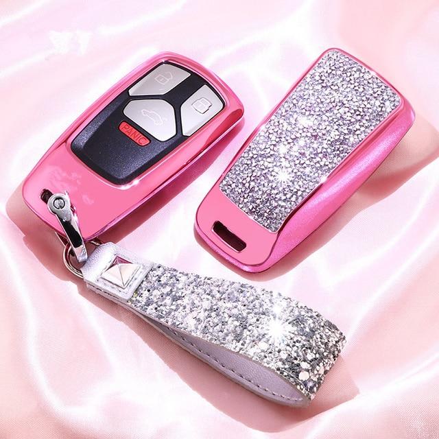 Diamante caso capa chave do carro para audi a4 b9 q5 q7 tt tts 8s 2016 2017 corrente chaveiro para meninas presentes femininos cristal artificial